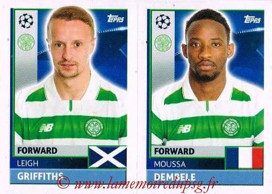 2016-17 - Topps UEFA Champions League Stickers - N° QFB 15-16 - Moussa DEMBELE + Leigh GRIFFITHS (Celtic FC)