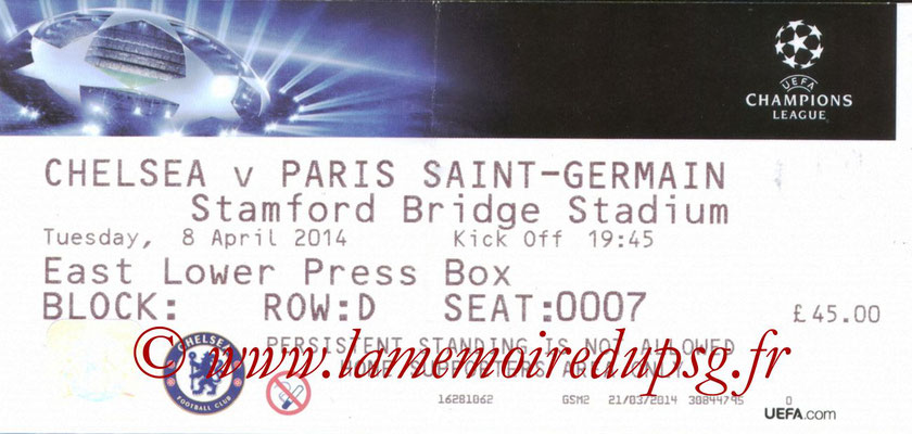Tickets  Chelsea-PSG  2013-14