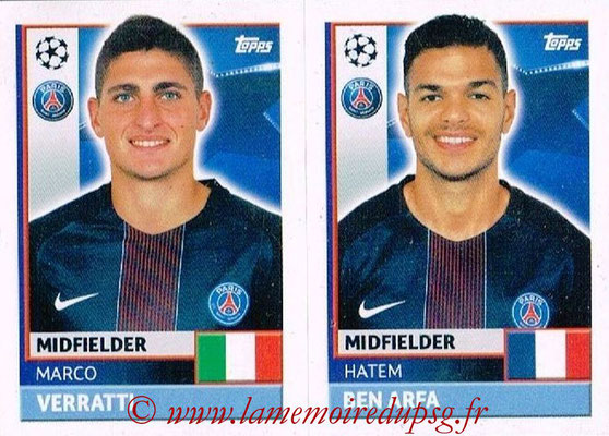 2016-17 - Topps UEFA Champions League Stickers - N° PSG 14-15 - Hatem BEN ARFA + Marco VERRATTI (Paris Saint-Germain)
