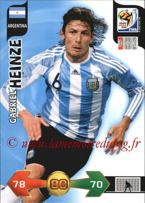 2010 - Panini FIFA World Cup South Africa Adrenalyn XL - N° 008 - Gabriel HEINZE (Argentine)