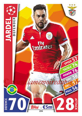 2017-18 - Topps UEFA Champions League Match Attax - N° 204 - JARDEL (SL Benfica)