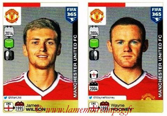 2015-16 - Panini FIFA 365 Stickers - N° 339-340 - James WILSON + Wayne ROONEY (Manchester United FC)