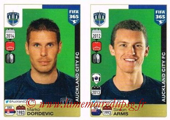2015-16 - Panini FIFA 365 Stickers - N° 676-677 - Marko DORDEVIC + Simon ARMS (Auckland City FC)