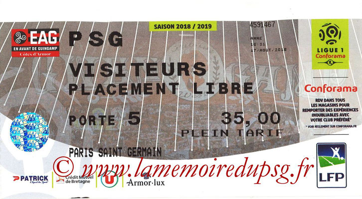 Ticket  Guingamp-PSG  2018-19