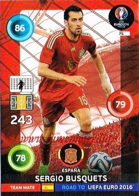 Panini Road to Euro 2016 Cards - N° 075 - Sergio BUSQUETS (Espagne)