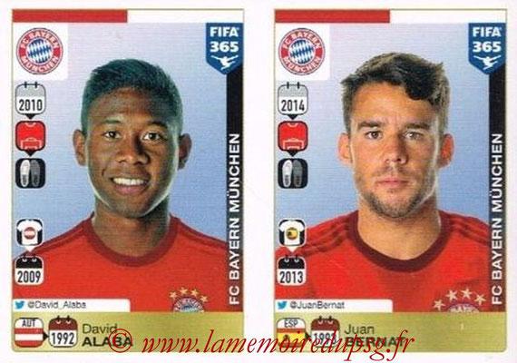 2015-16 - Panini FIFA 365 Stickers - N° 468-469 - David ALABA + Juan BERNAT (FC Bayern Munich)
