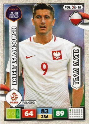 2018 - Panini Road to FIFA World Cup Russia Adrenalyn XL - N° POL18 - Robert LEWANDOWSKI (Pologne)