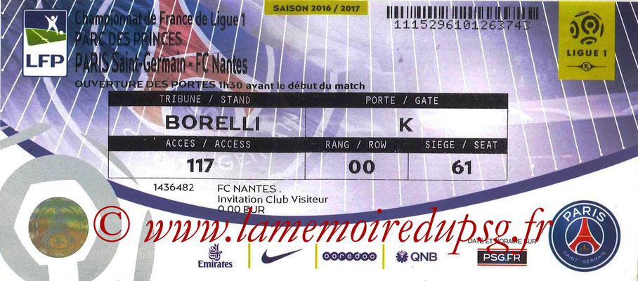 Tickets  PSG-Nantes  2016-17