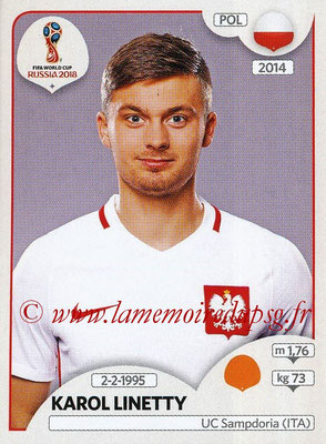 2018 - Panini FIFA World Cup Russia Stickers - N° 608 - Karol LINETTY (Pologne)