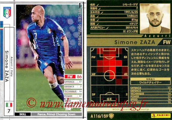 2015-16 - Panini WCCF - N° A116 - Simone ZAZA (Italie)