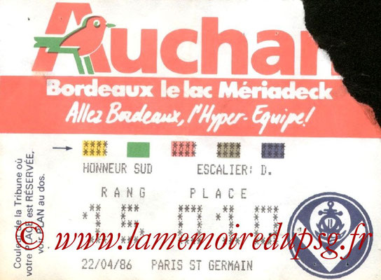 Ticket  Bordeaux-PSG  1985-86
