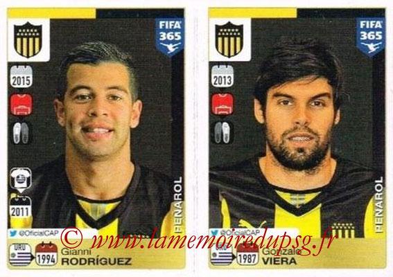 2015-16 - Panini FIFA 365 Stickers - N° 826-827 - Gianni RODRIGUEZ + Gonzalo VIERA (Penarol)