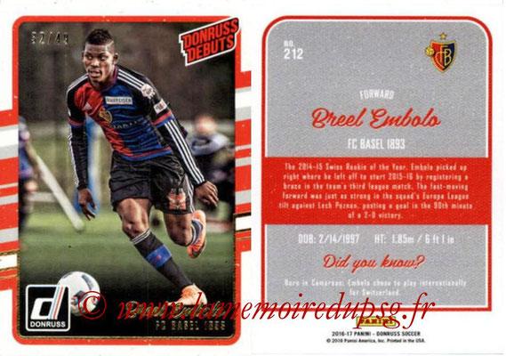 2016 - Panini Donruss Cards - N° 212 - Breel EMBOLO (FC Basel 1893) (Donruss Debuts)