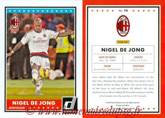2015 - Panini Donruss Soccer - N° 010 - Nigel DE JONG (Milan AC)