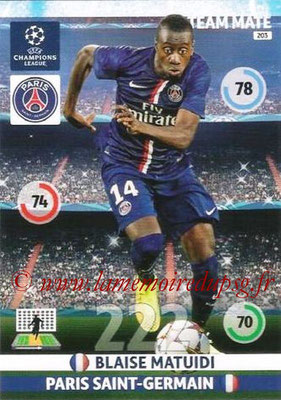 2014-15 - Adrenalyn XL champions League N° 203 - Blaise MATUIDI (Paris Saint-Germain)