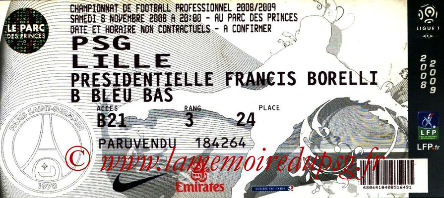Tickets  PSG-Lille  2008-09