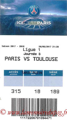 Tickets  PSG-Toulouse   2017-18