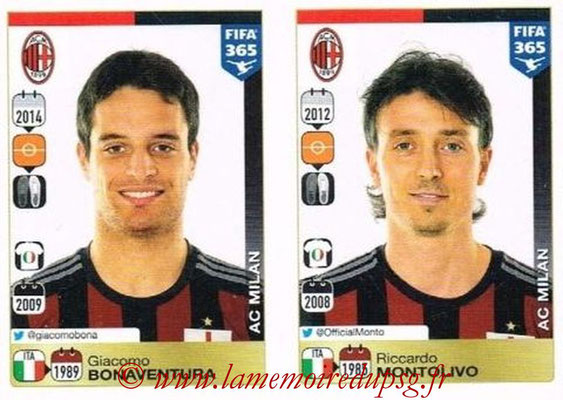 2015-16 - Panini FIFA 365 Stickers - N° 592-596 - Giacomo BONAVENTURA + Riccardo MONTOLIVO (Milan AC)