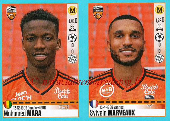 2016-17 - Panini Ligue 1 Stickers - N° 328 + 329 - Mohamed MARA + Sylvain MARVEAUX (Lorient)