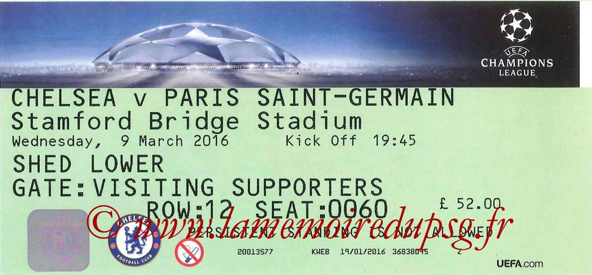 Tickets  Chelsea-PSG  2015-16