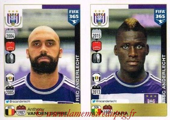 2015-16 - Panini FIFA 365 Stickers - N° 134-135 - Anthony VANDEN BORRE + KARA (RSC Anderlecht)