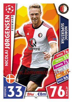 2017-18 - Topps UEFA Champions League Match Attax - N° N06 - Nicolai JORGENSEN (Feyenord) (Nordic Superstar)(Nordic Edition)