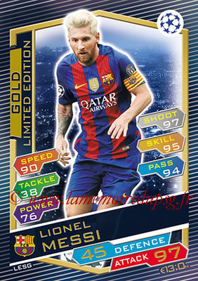 2016-17 - Topps UEFA Champions League Match Attax - N° LESG - Lionel MESSI (FC Barcelone) (Limited Edition Gold)