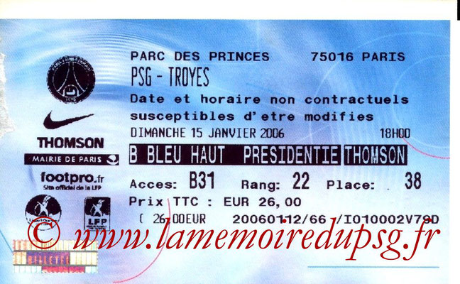 Tickets  PSG-Troyes  2005-06