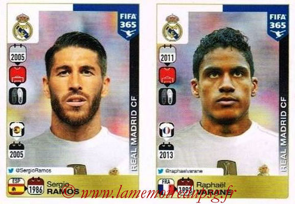 2015-16 - Panini FIFA 365 Stickers - N° 374-375 - Sergio RAMOS + Raphaël VARANE (Real Madrid CF)
