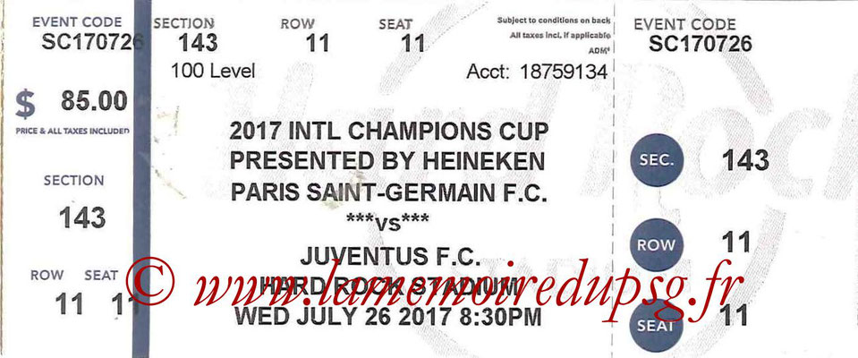 Ticket  PSG-Juventus  2017-18