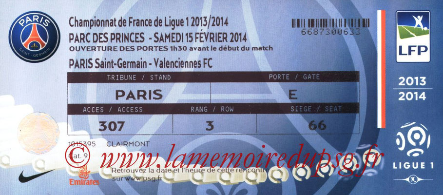 Tickets  PSG-Valenciennes  2013-14