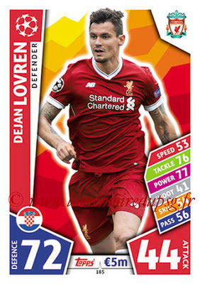 2017-18 - Topps UEFA Champions League Match Attax - N° 185 - Dejan LOVREN (Liverpool FC)