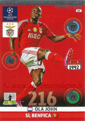2014-15 - Adrenalyn XL champions League N° 107 - Ola JOHN (SL Benfica) (Rising star)