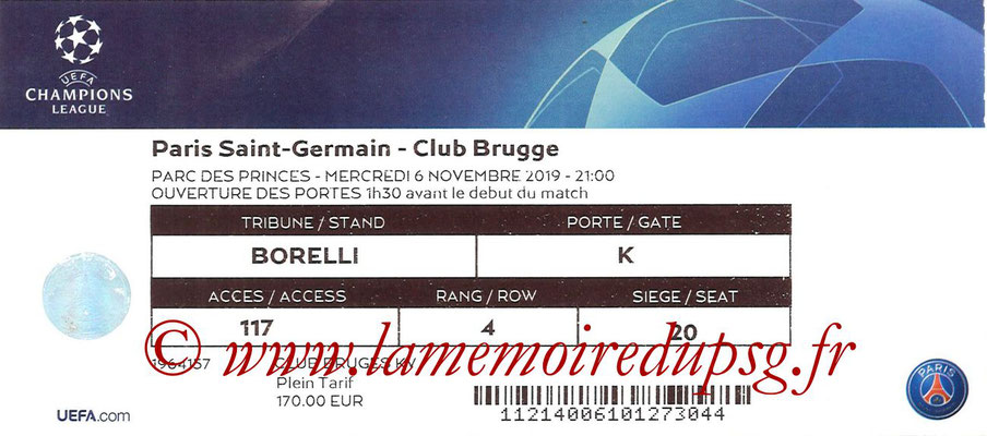 Ticket  PSG-Bruges  2018-19