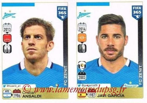 2015-16 - Panini FIFA 365 Stickers - N° 740-741 - Cristian ANSALDI + Javi GARCIA (FC Zenit)