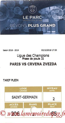 Tickets  PSG-Etoile Rouge de Belgrade  2018-19