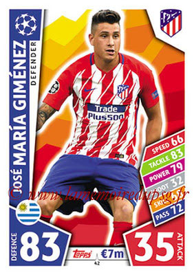 2017-18 - Topps UEFA Champions League Match Attax - N° 042 - José Maria GIMENEZ (Club Atletico de Madrid)