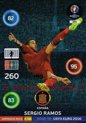 Panini Road to Euro 2016 Cards - N° 320 - Sergio RAMOS (Espagne) (Defensive Rock)