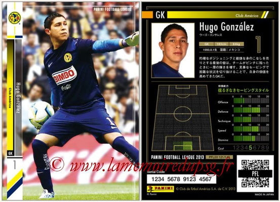 Panini Football League 2013 - PFL03 - N° 121 - Hugo Gonzalez (Club America)