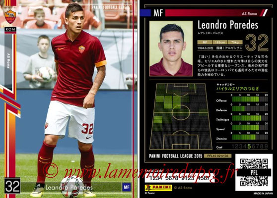 Panini Football League 2015 - PFL10 - N° 020 - Leandro PAREDES (AS Roma)