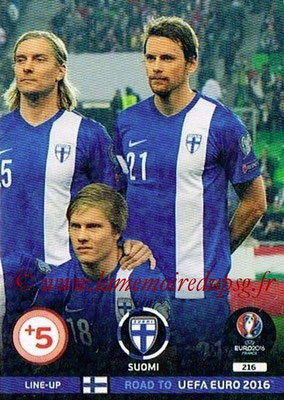 Panini Road to Euro 2016 Cards - N° 216 - Equipe Finlande 3