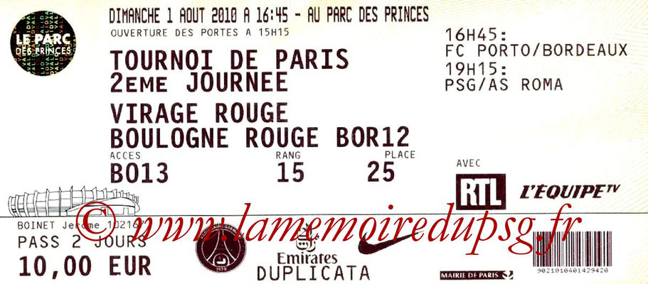 Tickets  PSG-AS Roma  2008-09