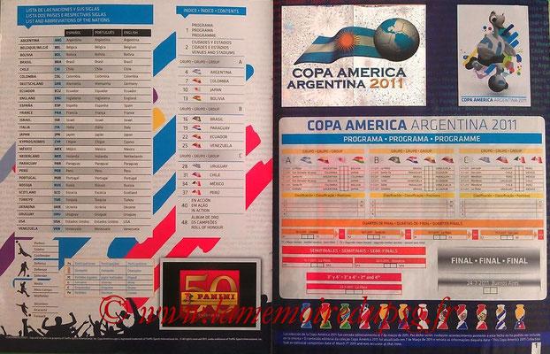 Panini Copa América Argentina 2011 - Pages 00 et 01 - Calendrier