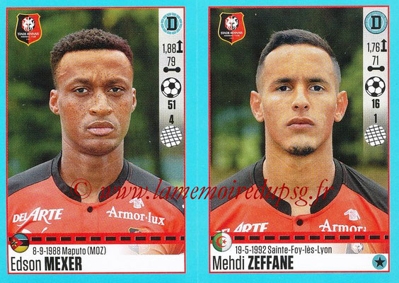 2016-17 - Panini Ligue 1 Stickers - N° 742 + 743 - Edson MEXER + Medhi ZEFFANE (Rennes)
