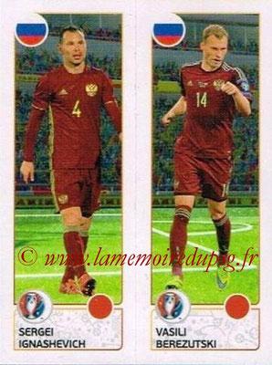 Panini Euro 2016 Stickers - N° 157 - Sergei IGNASHEVICH + Vasili BEREZUTSKI (Russie)