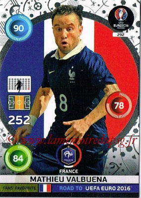 Panini Road to Euro 2016 Cards - N° 292 - Mathieu VALBUENA (France) (Fans' Favorite)