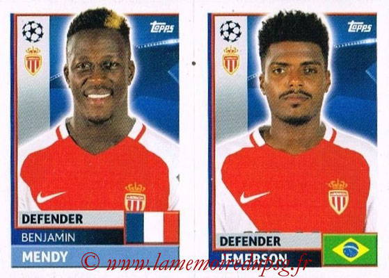 2016-17 - Topps UEFA Champions League Stickers - N° QFH 7-8 - JEMERSON + Benjamin MENDY (AS Monaco)