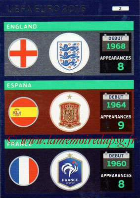 Panini Euro 2016 Cards - N° 002 - Equipes Angleterre + Espagne + France