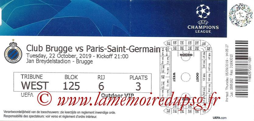 Ticket  Bruges-PSG  2019-20