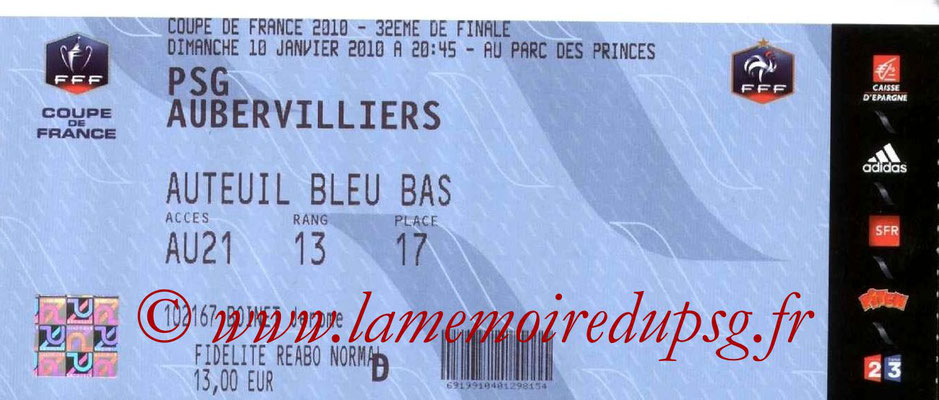 Ticket  PSG-Aubervilliers  2009-10